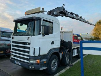 Scania 164G-480 8X4 FULL STEEL MANUAL EURO 3 + HIAB 700  - бортовой грузовик