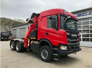 Тягач Scania G500 6x6 Euro 6 SZM + Epsilon Holzkran Q170Z96 — 4409361